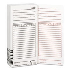 Time Card for Es1000 Electronic Totalizing Payroll Recorder, 100/Pack