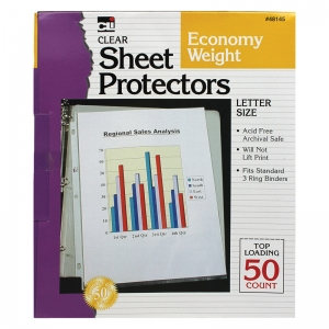 TOP LOADING SHEET PROTECTORS CLEAR  50/BOX