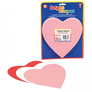 TISSUE SHAPES 180CT 6IN HEARTS IN  RED WHITE & PINK