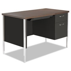 Single Pedestal Steel Desk, Metal Desk, 45-1/4w x 24d x 29-1/2h, Walnut/Black