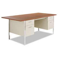 Double Pedestal Steel Desk, Metal Desk, 72w x 36d x 29-1/2h, Cherry/Putty