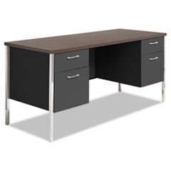 Double Pedestal Steel Credenza, 60w x 24d x 29-1/2h, Walnut/Black