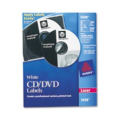 Laser CD Labels, Matte White, 100/Pack