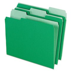 Colored File Folders, 1/3 Cut Top Tab, Letter, Green/Light Green, 100/Box