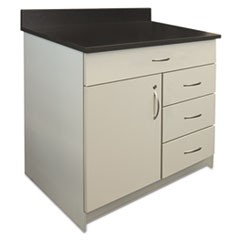 Hosp. Base Cabinet, Four Drawer/Door, 36 x 24 3/4 x 40, Gray/Granite Nebula