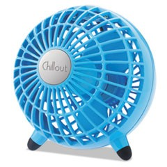 "Chillout USB/AC Adapter Personal Fan, Teal, 6""Diameter, 1 Speed"