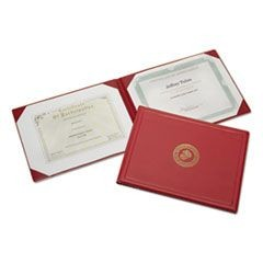 7510010561927, Award Certificate Binder, 8 1/2 x 11, Marine Corps Seal, Red/Gold