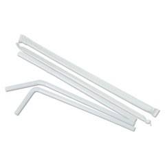 "Wrapped Flex Straws, White, Plastic, 7 5/8"", 400/Box, 25/Carton"