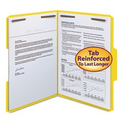 "WaterShed/CutLess Folder, Top Tab, 2 Fasteners, 3/4"" Exp., Letter, Yellow, 50/BX"