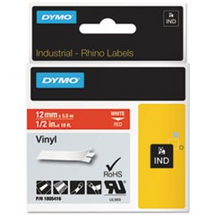 "Rhino Permanent Vinyl Industrial Label Tape, 1/2"" x 18 ft, Red/White Print"