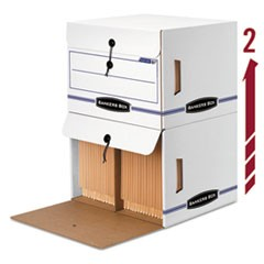 Side-Tab File Storage Box, Letter, 15-1/4 x 13-1/2 x 10-3/4, White/Blue, 12/CT