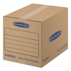 SmoothMove Basic Small Moving Boxes, 16l x 12w x 12h, Kraft/Blue, 25/Bundle