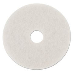"Standard Polishing Floor Pads, 14"" Diameter, White, 5/Carton"