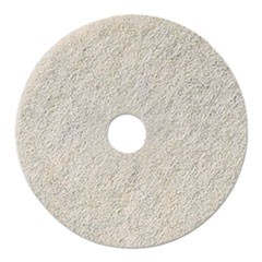 "Ultra High-Speed Natural Hair Floor Pads, 17"" Diameter, White, 5/Carton"