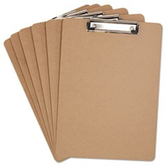 "Hardboard Clipboard, 1/2"" Capacity, Holds 8 1/2w x 12h, Brown, 6/Pack"