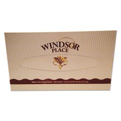 "Windsor Place Premium Facial Tissue, 2-Ply, White, 7.5"" x 8.2"", 100/Box"