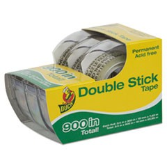 "Permanent Double-Stick Tape, 1/2"" x 300"", 1"" Core, Clear"