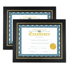 Leatherette Document Frame, Certificate/Document, 11 x 8 1/2, Black, 2/PK