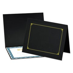 Certificate/Document Cover, 8 1/2 x 11 / 8 x 10 / A4, Black, 6/PK