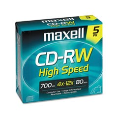 CD-RW Discs, 700MB/80min, 12x, w/Jewel Cases, Gold, 5/Pack