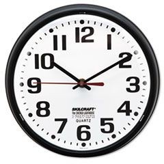"6645013897958 Slimline Quartz Wall Clock, 9 1/4"", White Face, Black"