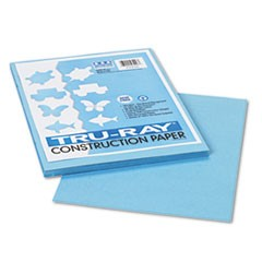 Tru-Ray Construction Paper, 76 lbs., 9 x 12, Sky Blue, 50 Sheets/Pack